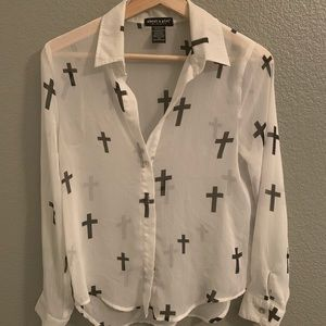 About A Girl Sheer cross button down size XS